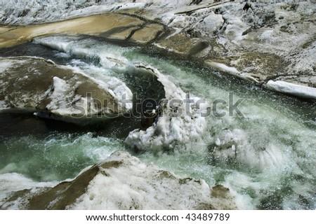 Glacial streams on a mountain glacier. Karator glacier. Kuylu mountains, Central Tien-Shan, Kyrgyzstan.