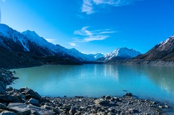 Glacier and lake with turquoise blue water and mountains landscape. Winter mountain landscape with glacier and lake. Tasman glacier, Aoraki - Mount Cook National Park, New Zealand