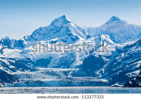 Glacier and snow capped mountains in the Glacier Bay National Park, Alaska #113277325
