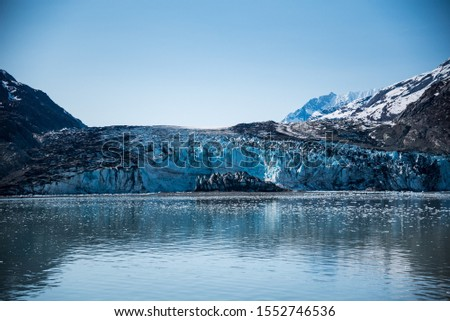 Glacier Bay Alaska Glacier and Mountains Beautiful Scenic View Blue Skies White Glaciers  #1552746536