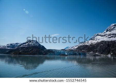 Glacier Bay Alaska Glacier and Mountains Beautiful Scenic View Blue Skies White Glaciers  #1552746545