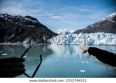 Glacier Bay Alaska Glacier and Mountains Beautiful Scenic View Blue Skies White Glaciers  #1552746551
