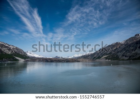 Glacier Bay Alaska Glacier and Mountains Beautiful Scenic View Blue Skies White Glaciers  #1552746557