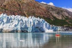Glacier Bay, Alaska. Ice calving at Margerie Glacier in Glacier Bay National Park
