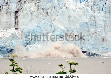 glacier calving in water