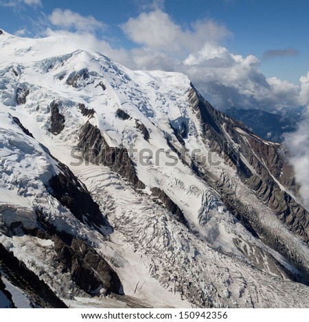 Glacier des Bossons and Glacier du Taconnaz in the Mont Blanc massif, French Alps.