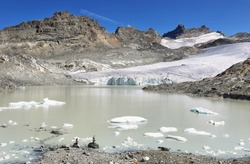Glacier du Grand Mean and lake above the cirque des Evettes in the vanoise national park, french alps