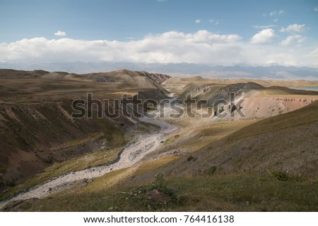 Glacier formed canyon, Pik Lenin, Sary Mogul, Altai and Pamir Mountains, Kyrgyzstan, Central Asia #764416138