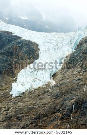 glacier ice frozen water mountain foggy misty jasper alberta canada