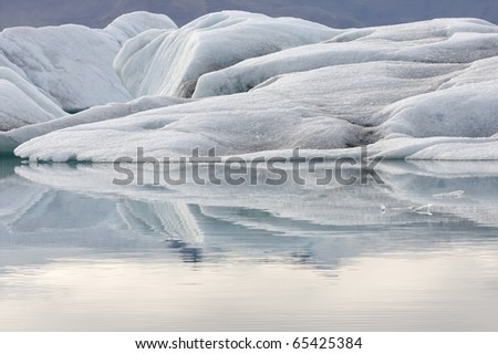glacier ice in the lake