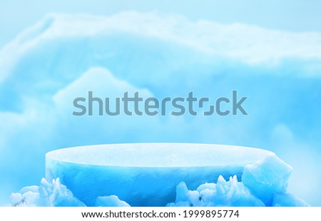 Glacier ice podium for mockup display or presentation of products. Advertising theme concept.