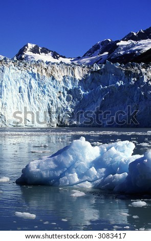 glacier in the sea bay.