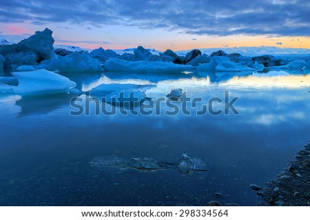 Glacier lagoon in Iceland at midnight