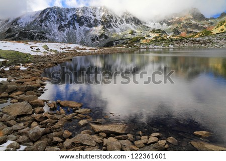 Glacier lake and early winter snow, Retezat mountains, Romania