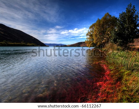 glacier lake eco tourism destination - stock photo