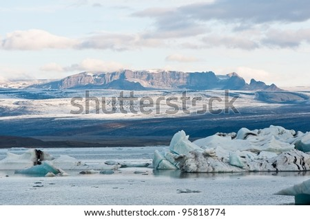 glacier lake in Iceland - anazing shapes created by global warming