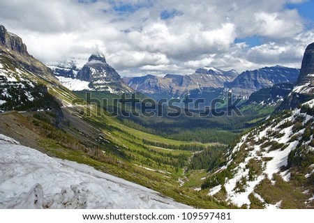 Glacier National Park in Montana USA. Beautiful Valley. Scenic Montana Photo Collection.