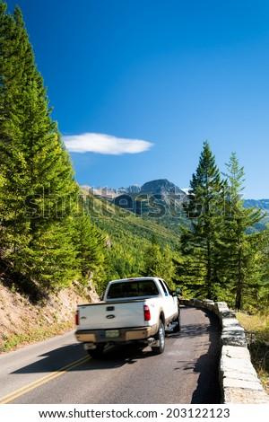 GLACIER NATIONAL PARK, MONTANA/USA - SEPTEMBER 20 : Going to the Sun road in Glacier National Park Montana on September 20, 2013