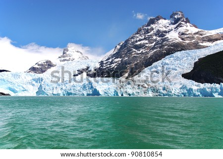 Glacier on Lago Argentino is a lake in the Patagonian province of Santa Cruz, Argentina.The lake lies within the Los Glaciares National Park, in a landscape with numerous glaciers.
