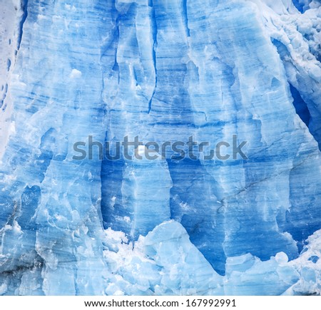 Glacier Perito Moreno in Argentina, blue icy background and texture.