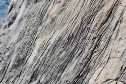 Glacier striations scratched along a rock in the mountains