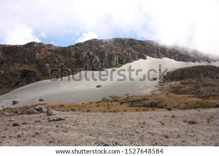 Glacier Volcano Nevado del Ruiz, in Los Nevados National Natural Park. Due to climate change, the glacier is running. Of the 14 glaciers that had in the XX century, today only 6. #1527648584