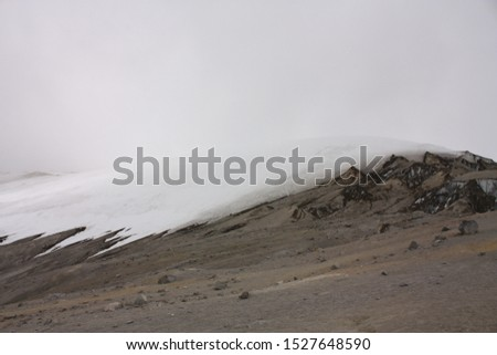 Glacier Volcano Nevado del Ruiz, in Los Nevados National Natural Park. Due to climate change, the glacier is running. Of the 14 glaciers that had in the XX century, today only 6. #1527648590