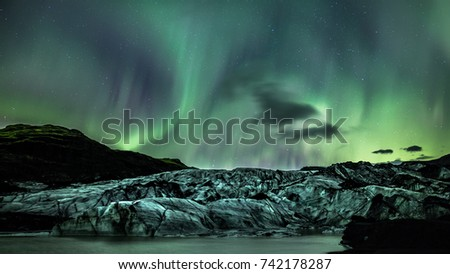 glacier with northern lights #742178287