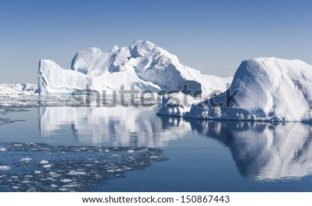 Glaciers and icebergs of Greenland. Travel among Disko Bay ices.