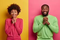 Glad Afro American girlfriend and boyfriend keep hands together in praying gesture, anticipate important results, stand next to each other against two colored background, smile broadly, feel happy