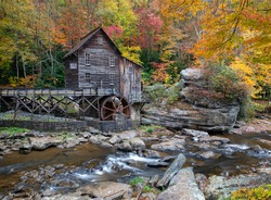 Glade Creek Grist Mill Babcock State Park West Virginia Autumn Season Beautiful Colors October 2020
