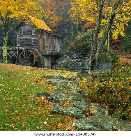 Glade Creek Grist Mill in late October