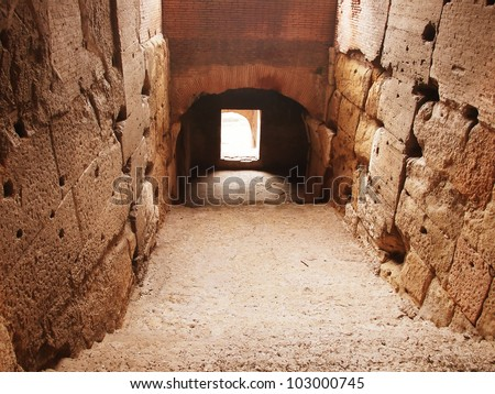 Gladiators entrance in the arena of Colosseum
