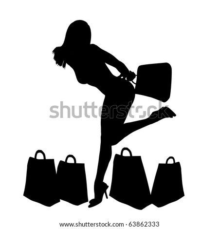 Glamoour shopping girl silhouette illustration