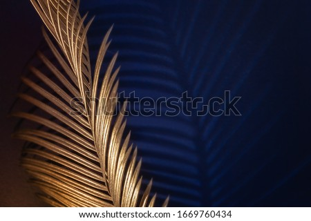 Photo of  Glamor Golden tropical leaves and shadow on dark blue background, art deco style, selective focus.