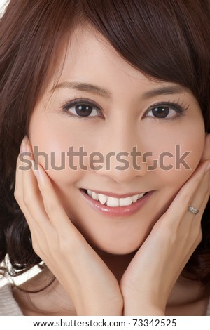 Glamor of Asian beauty, closeup portrait of face with smile.