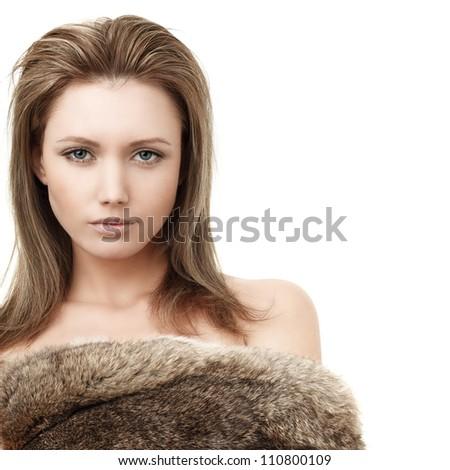 Glamorous blond woman - fashion girl in fur
