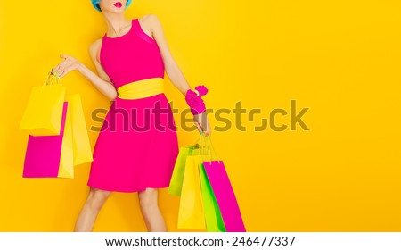 Shutterstock Glamorous Lady Shopping.Time discounts and Sales