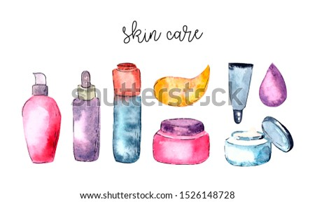 Glamorous make up watercolor cosmetics background.Watercolor cosmetics pattern. make up artist objects: Organic cosmetics illustration,cosmetic bottles, skin care items. Hand drawn set, Herbal lotion