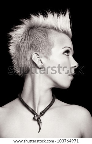 glamorous portrait of a beautiful woman with short hair - black and white