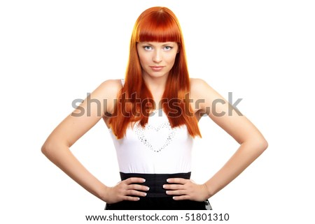 Glamorous redhead young woman on white background