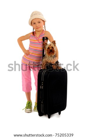 Glamorous tourist with dog