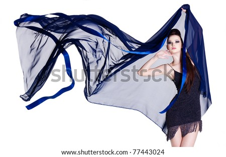 Glamour beautiful elegance young woman with blowing chiffon - isolated on white