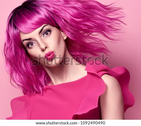 ad419c0ef6a4 Glamour Beautiful Lady with Kiss Face. Party Fashion Hairstyle. Woman in  Pink Summer Dress