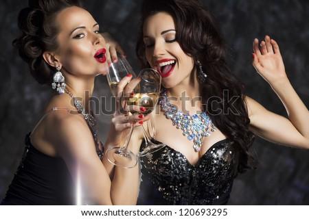 Glamour. Elated Woman Celebrating New Year, Christmas or Birthday