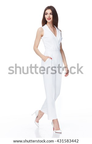 Glamour fashion style catalog casual clothes for business woman meeting date walk party sexy beautiful woman brunette long hair natural make up wear white cotton costume perfect body shape model suit