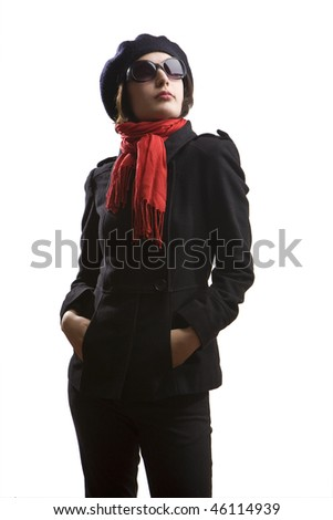 glamour girl with coat, red scarf and sunglasses isolated on white - stock photo