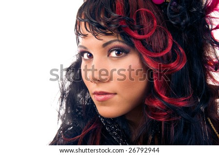 stock photo : Glamour hairstyle. Close-up portrait of beautiful asian girl