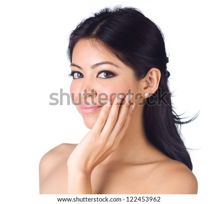 Glamour portrait of beautiful woman on white background