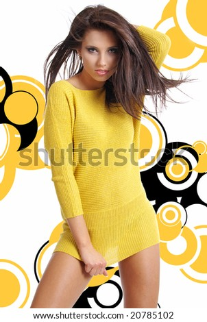 Glamour Portrait of sexy woman over modern abstract  background